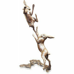 Limited Edition - Medium Hares Boxing Bronze Sculpture