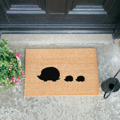 Hedgehog Family Coir Doormat