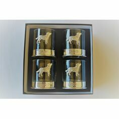 Set of Four Labrador Pewter Whisky Glasses