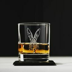 Just Slate Hare Etched Glass Tumbler and Slate Coaster