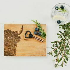 Scottish Oak Highland Cow Cutting Board & Bottle Opener Set
