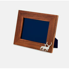 Teak and Silver Plated Stag/Deer Photo Frame