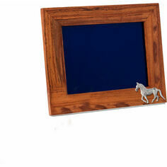 Teak and Silver Plated Horse Photo Frame