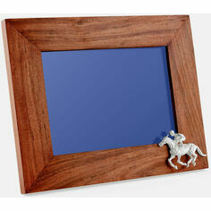 Teak and Silver Plated Horse & Jockey Photo Frame