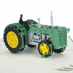 Vintage Green Tractor Pop Up Card
