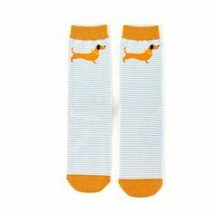 Dachshund Stripe Socks in Duck Egg blue