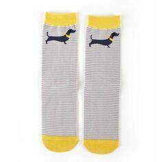 Dachshund Light Grey Stripe Socks
