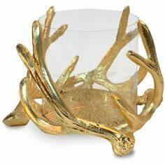 Small Antler Hurricane With Hammered Glass - Gold Finish
