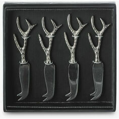 Set of 4 Mini Stag Antler Cheese Knives