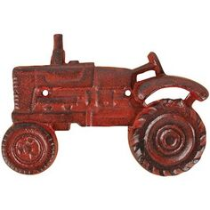 Cast Iron Red Tractor Wall Mounted Bottle Opener