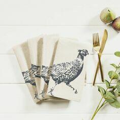 4 Pheasant Linen Napkins