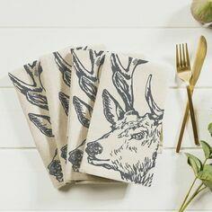 Set of 4 Stag Linen Napkins