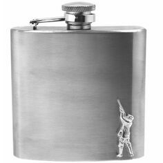 English Pewter 6oz Stainless Steel Shooting Hip Flask