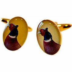 Soprano Pair of Pheasant Head Design Country Cufflinks