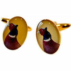 Soprano Pair of Pheasant Head Design Country Cufflinks