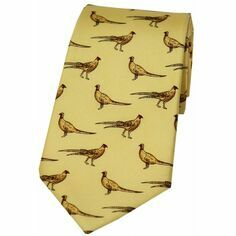 Soprano Yellow Silk Country Tie With Small Pheasant Design