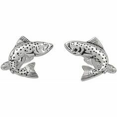 Soprano Pair of Silver Plated 3D Fish Design Country Cufflinks