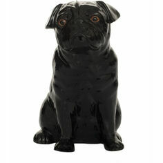 Quail Ceramics Black Pug Money Box