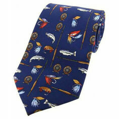 Soprano Blue Fishing Tackle Design Silk Tie