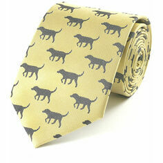 Fox & Chave Gold and Black Labrador Silk Tie