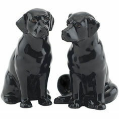 Quail Ceramics Black Labrador Salt & Pepper Shaker Pots