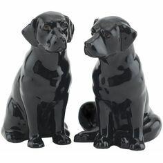 Quail Ceramics Black Labrador Salt & Pepper Shaker Pots