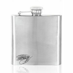 English Pewter 6oz Stainless Steel Fly Fishing Hip Flask