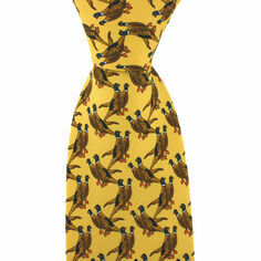 Yellow Pair of Standing Pheasants Silk Tie