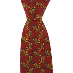 Red Country Silk Tie with Pair of Pheasants