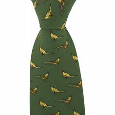 Soprano Green Silk Country Tie With Small Pheasant Design