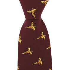 Soprano Wine Red Silk Country Tie With Small Flying Pheasant Design