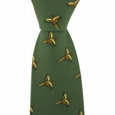 Green Silk Country Tie With Small Flying Pheasant Design