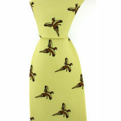 Yellow Silk Country Tie With Small Flying Pheasant Design