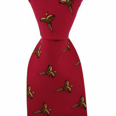 Red Country Silk Tie with Flying Pheasants