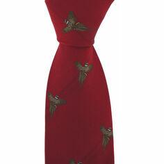 Red Flying Pheasant Luxury Woven Silk Tie