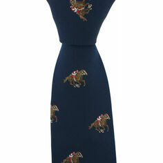 Navy Blue Horse Racing Woven Silk Tie