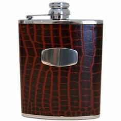 Brown Croc Leather Hip Flask 6oz