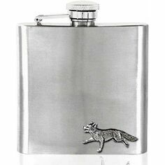 English Pewter 6oz Stainless Steel Fox Design Hip Flask