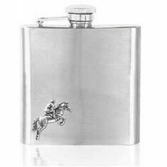 English Pewter 6oz Stainless Steel Horse Riding Hip Flask