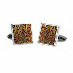 Fox & Chave Pheasant Feather Effect Cufflinks