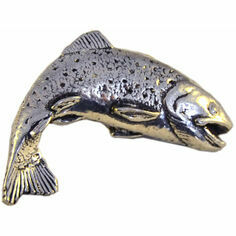 Pewter Leaping Salmon Lapel Pin in Presentation Box