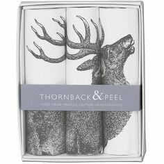 Thornback & Peel Set of 3 Grey Stag Handkerchiefs