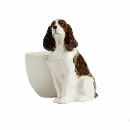 Quail Ceramics Springer Spaniel with Egg Cup