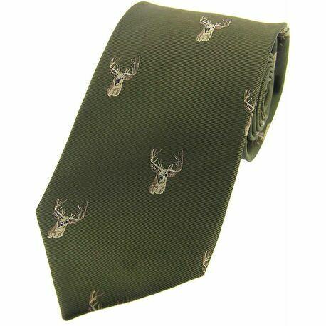 Soprano Green Stags Head Woven Silk Tie