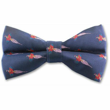 Navy Pheasant Bow Tie