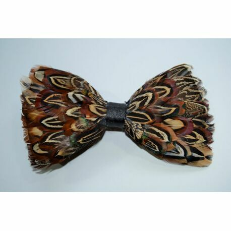 Real Pheasant Feather Bow Tie