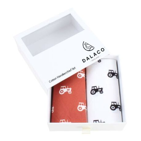 Pair of Red & White Cotton Tractor Handkerchiefs