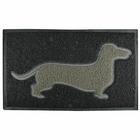 Grey Dachshund on Black PVC Loop Doormat