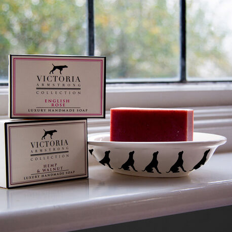 Victoria Armstrong Labrador Soap Dish and 2 Soaps