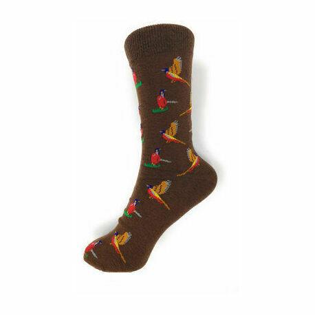 Pheasants on Brown Socks
